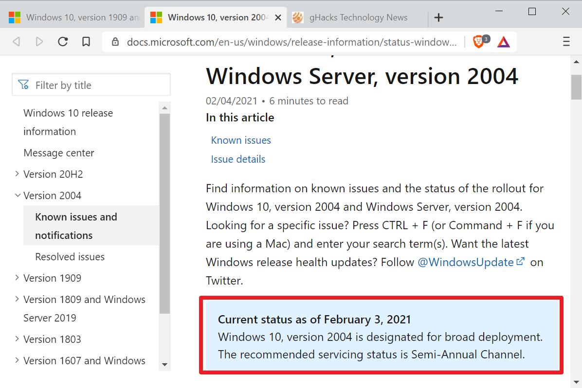 Windows 10 1909 2004 amplia implementación