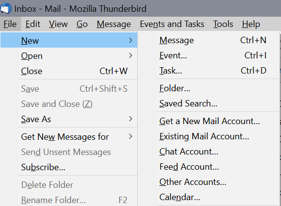 thundertbird keyboard shortcuts