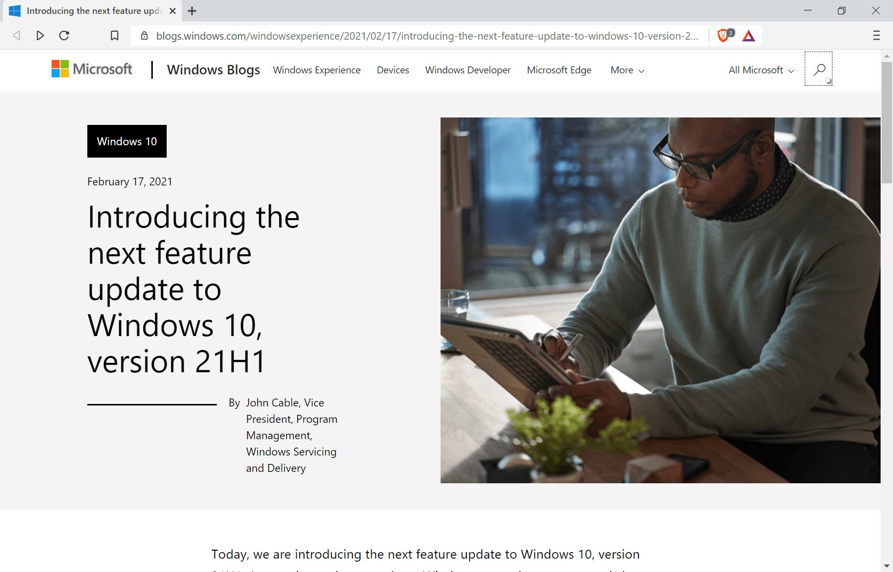 Se anuncia la actualización de funciones de Windows 10 versión 21h1