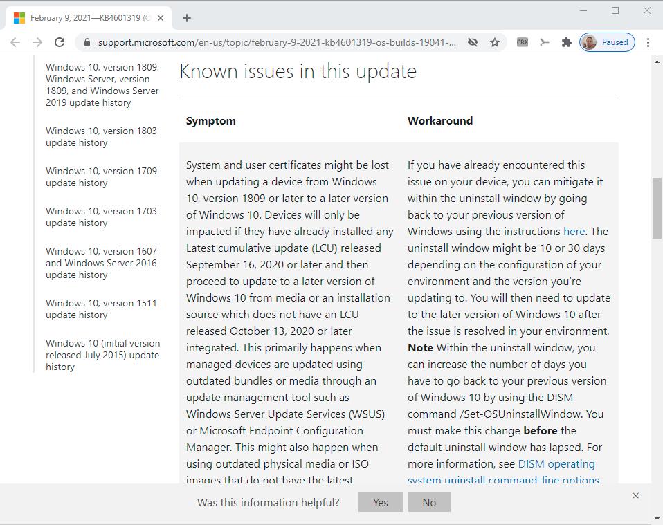 páginas de soporte de actualizaciones de Windows