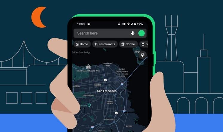 oogle Maps que muestra San Francisco en modo oscuro: nuevas y útiles funciones de Android se dirigen hacia ti