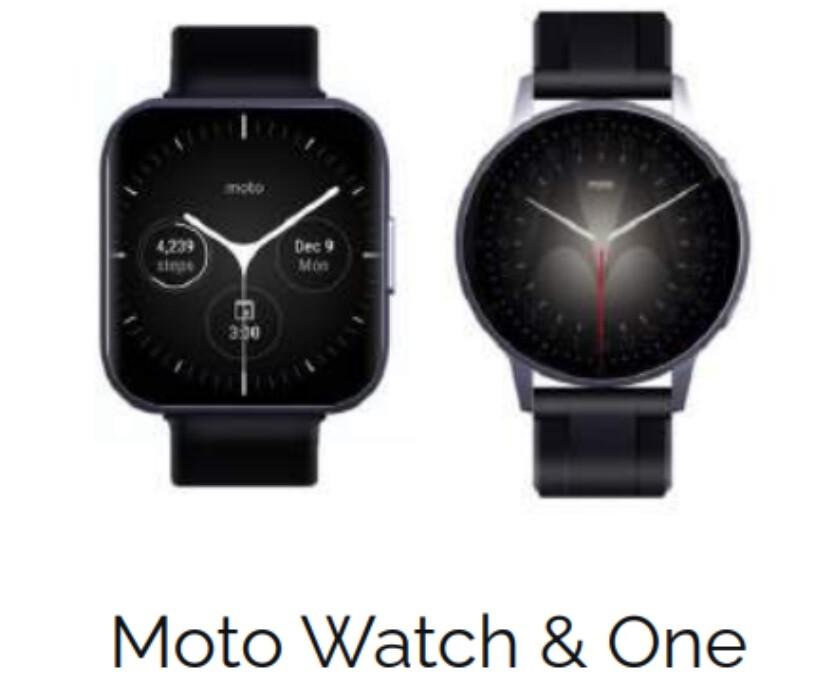 Se rumorea que Moto Watch One a la izquierda y Moto Watch a la derecha: se rumorea que llegarán tres nuevos relojes inteligentes Moto este verano