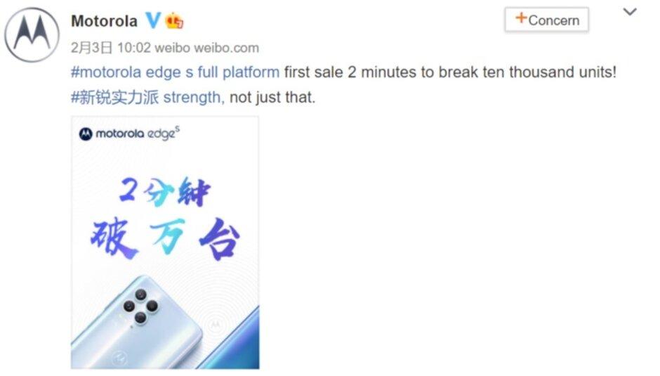 Motorola vendió 10,000 unidades Edge S en China en dos minutos - El primer lote de teléfonos Motorola Edge S listos para 5G se agota en dos minutos