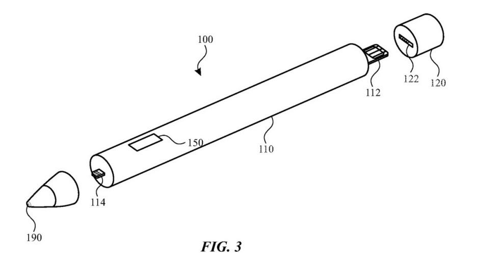 Ilustración de la última patente de Apple: Apple podría lanzar un nuevo lápiz con puntas intercambiables