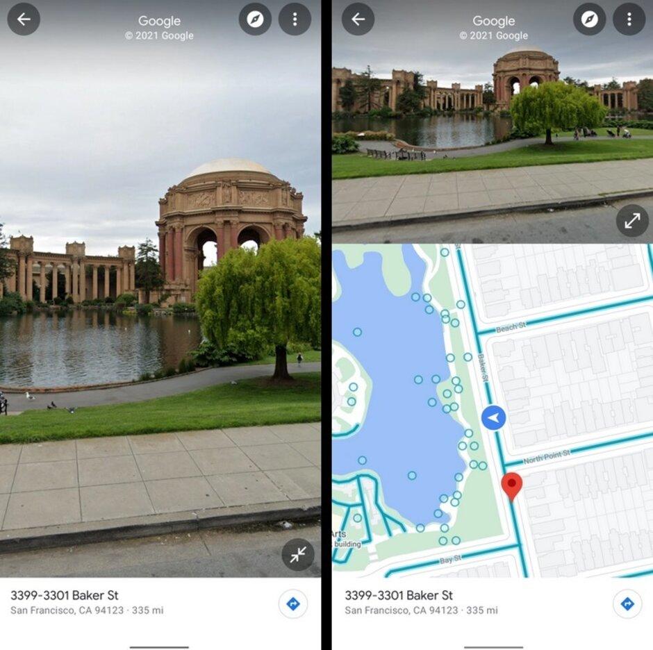 A la izquierda, la interfaz de usuario de pantalla completa normal. A la derecha, la nueva vista de pantalla dividida: Google prueba la interfaz de usuario de pantalla dividida para Street View de Maps en Android