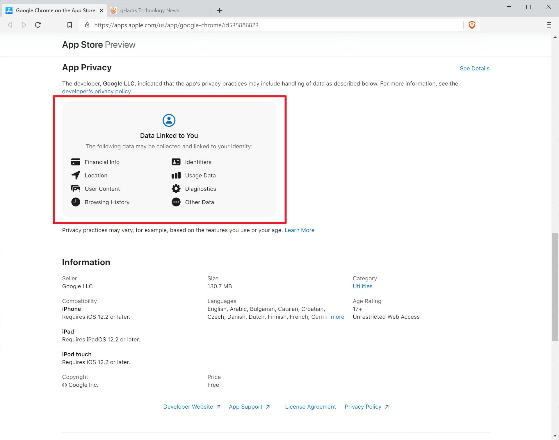 recopilación de datos de privacidad de google chrome