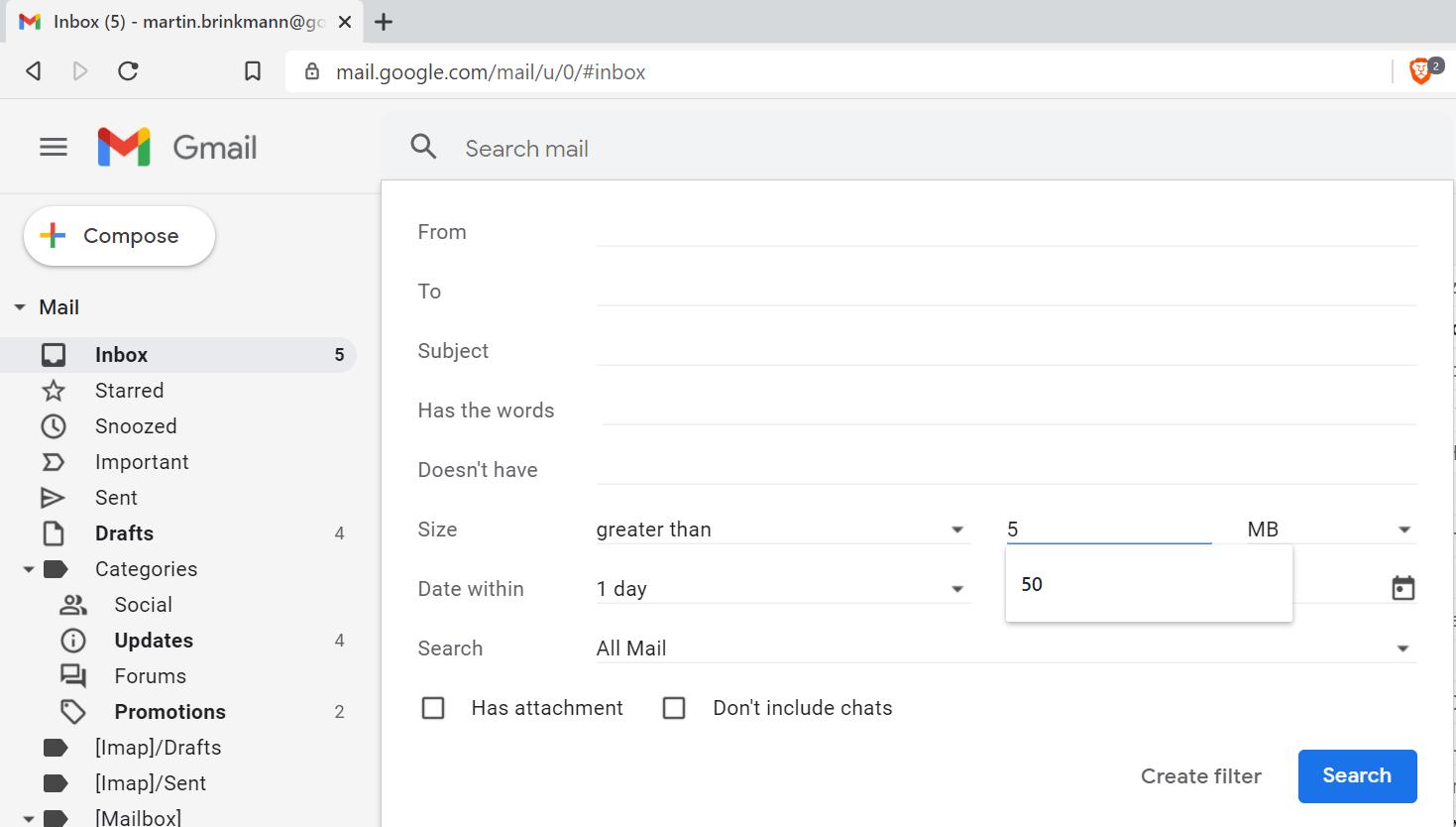 filtros de búsqueda de gmail
