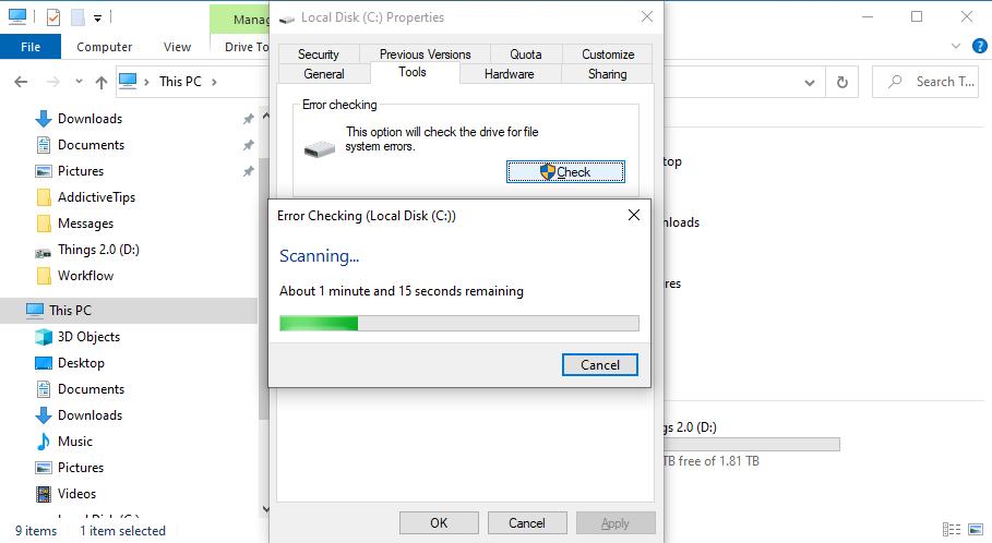 Windows 10 está ocupado escaneando la unidad C: en busca de errores