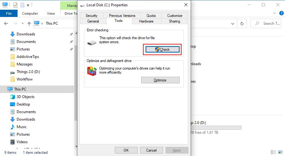 Windows 10 muestra cómo comprobar si hay errores en la unidad C: