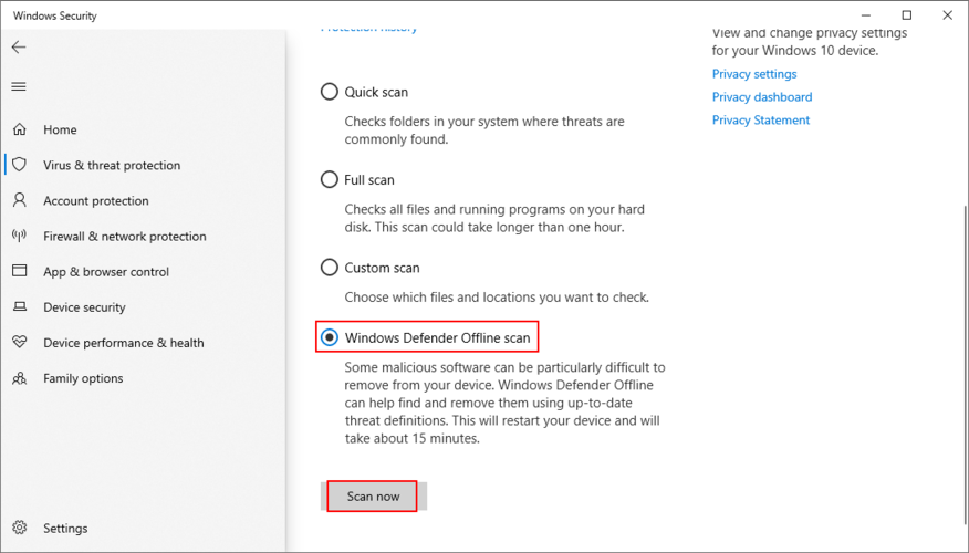 Windows 10 muestra cómo realizar un análisis sin conexión de Windows Defender