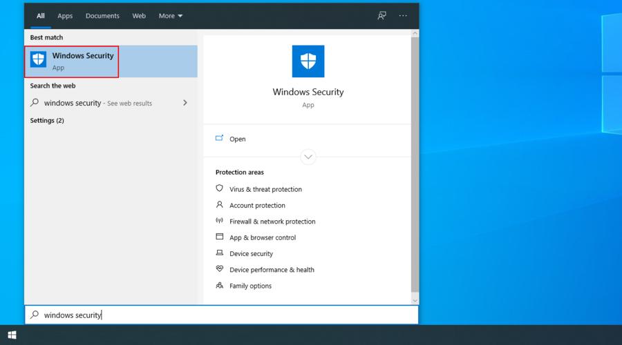 Windows 10 muestra cómo acceder a la aplicación de seguridad de Windows