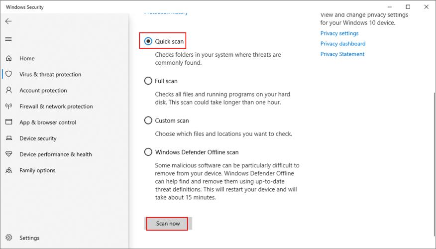 Windows 10 muestra cómo ejecutar un análisis rápido con Windows Defender