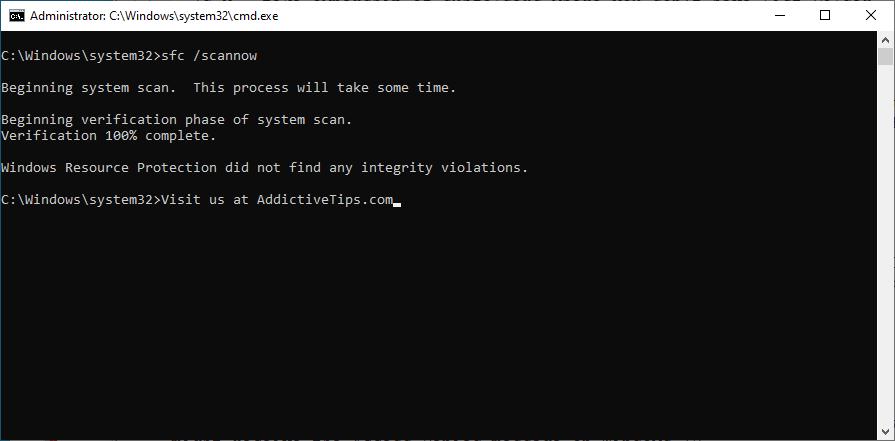 Windows muestra cómo ejecutar el comando sfc scannow en CMD