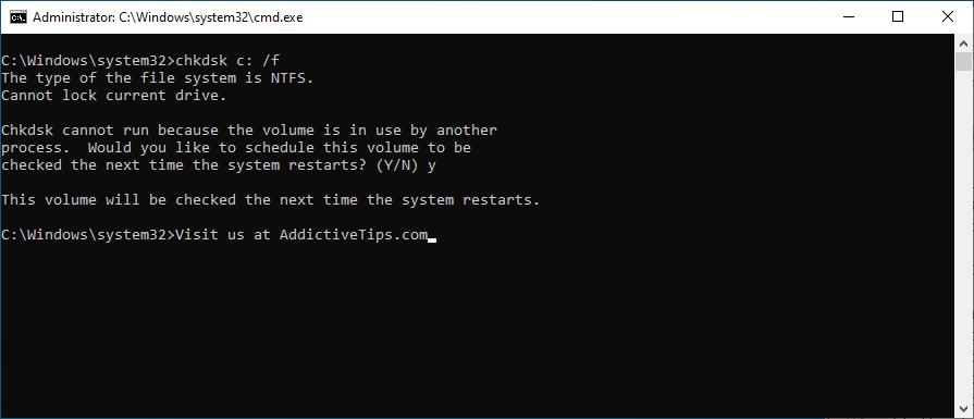 El símbolo del sistema muestra cómo ejecutar chkdsk c: / f