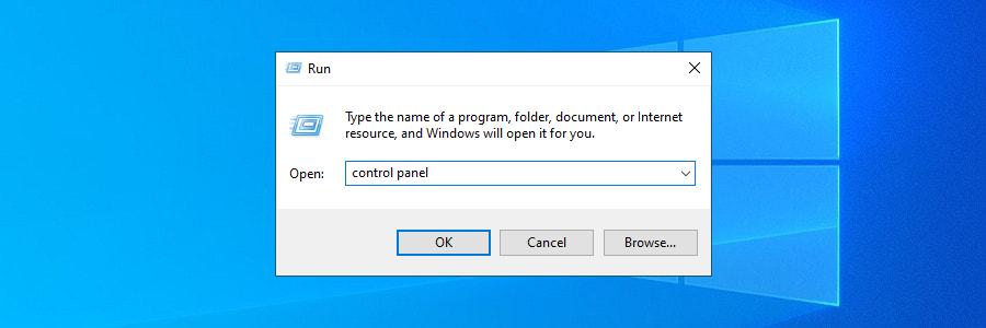 Windows 10 muestra cómo acceder al Panel de control usando la herramienta Ejecutar