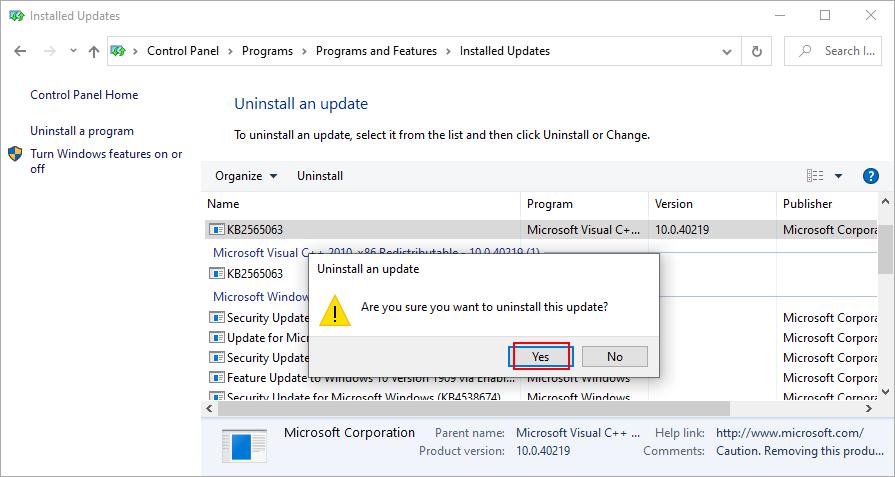 Windows 10 muestra cómo confirmar la eliminación de las actualizaciones de Windows
