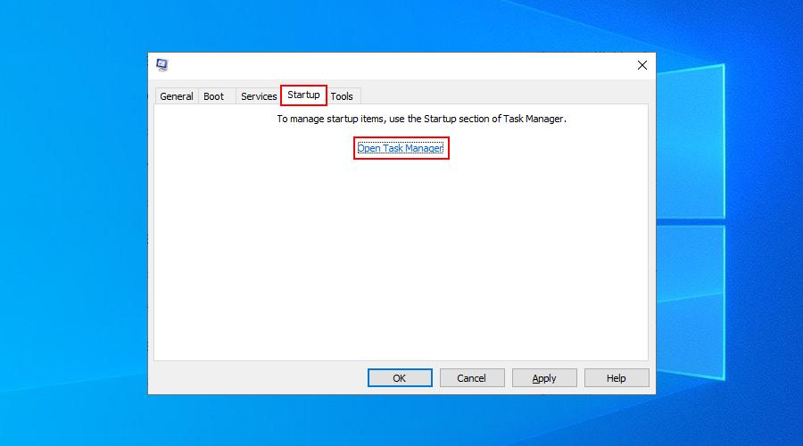 Windows 10 muestra cómo abrir el Administrador de tareas desde la aplicación Configuración del sistema