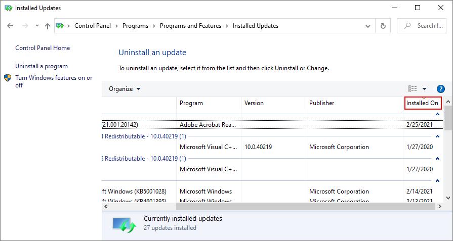 Windows 10 muestra cómo ordenar las actualizaciones de Windows instaladas por fecha
