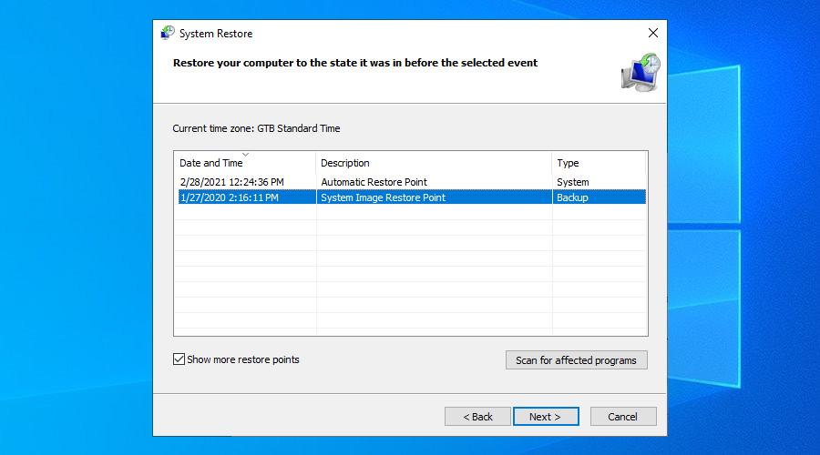 Windows 10 muestra un par de puntos de restauración del sistema