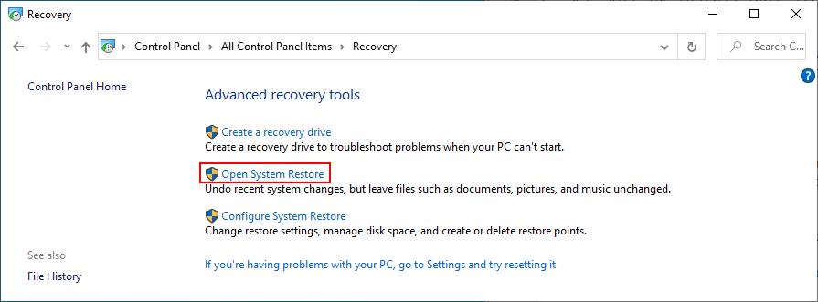 Windows 10 muestra cómo abrir Restaurar sistema