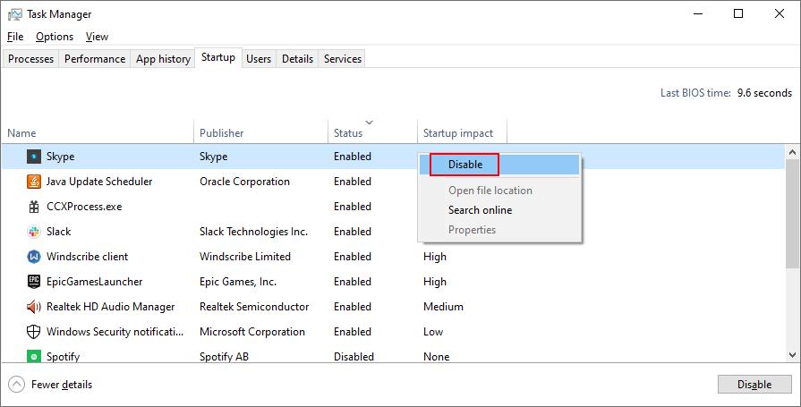 Windows 10 muestra cómo deshabilitar los procesos de inicio