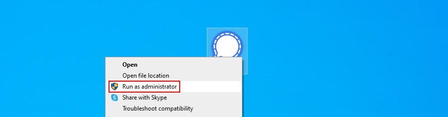 Windows 10 muestra cómo ejecutar una aplicación con derechos de administrador