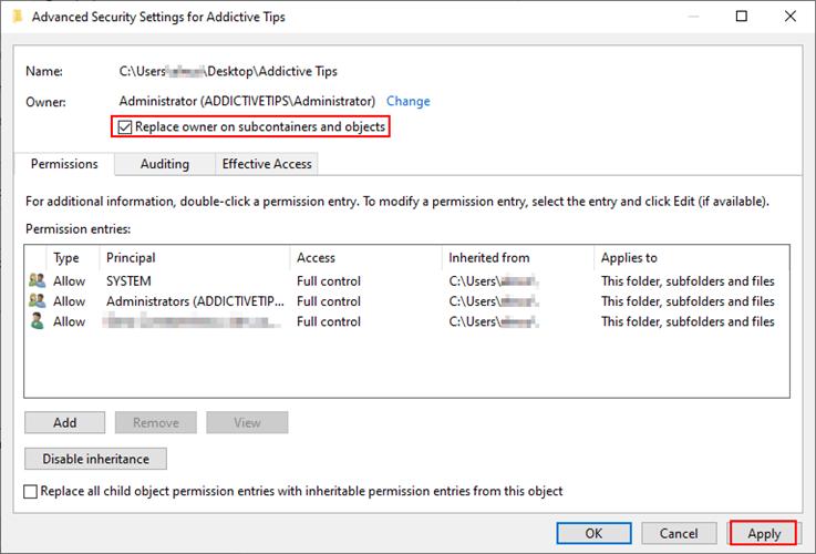 Windows 10 muestra cómo reemplazar al propietario en todos los subcontenedores y objetos de una carpeta