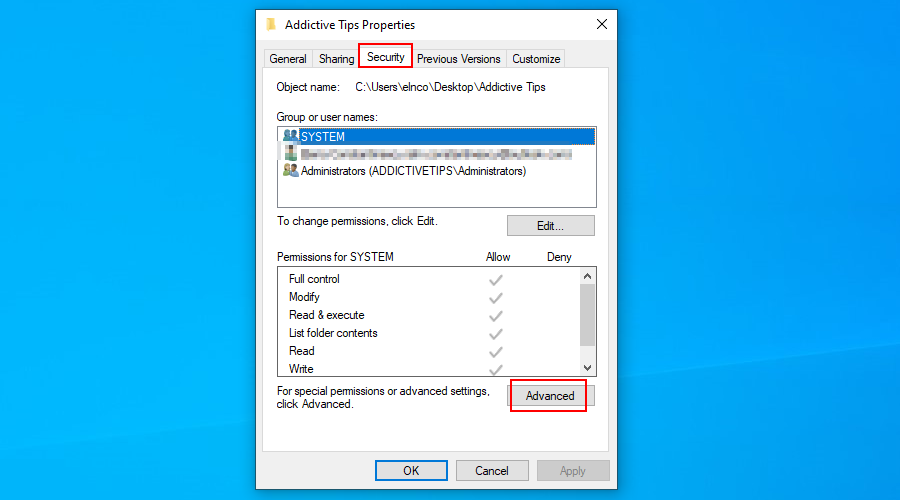 Windows 10 muestra cómo acceder a las propiedades de seguridad avanzadas de una carpeta