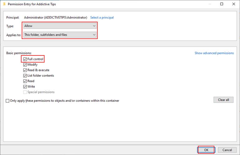 Windows 10 muestra cómo administrar la configuración de permisos de carpeta