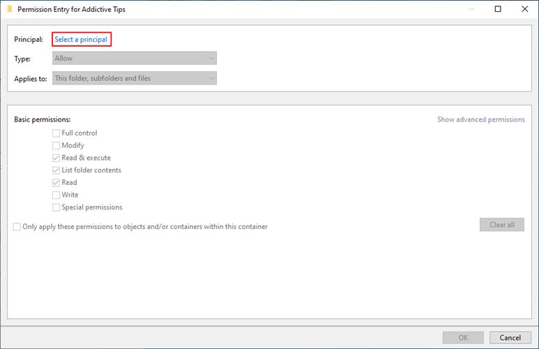 Windows 10 muestra cómo seleccionar un principal para los permisos de carpeta