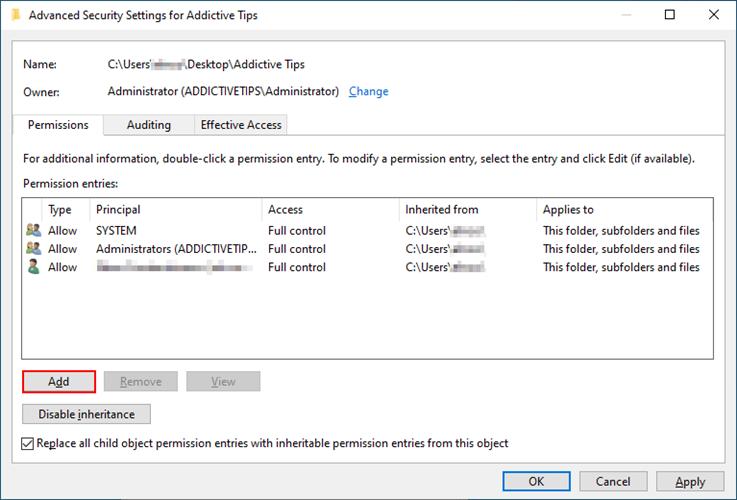 Windows 10 muestra cómo agregar una nueva cuenta para administrar los permisos de la carpeta