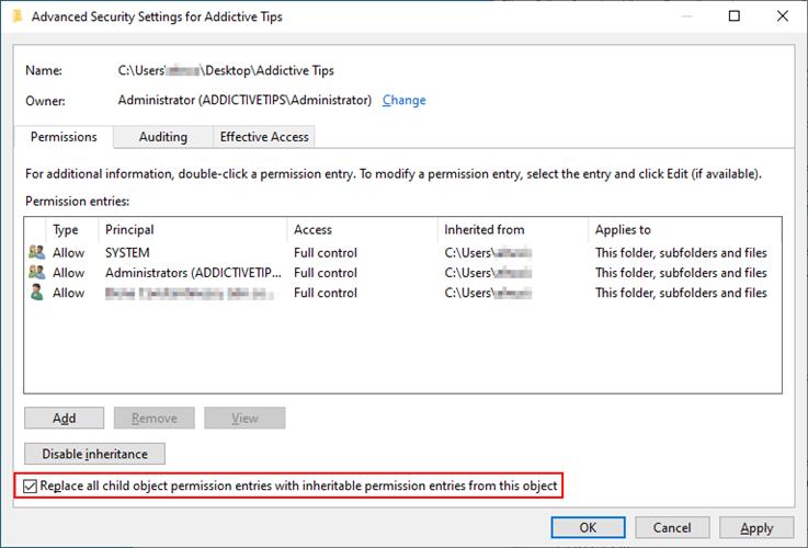 Windows 10 muestra cómo reemplazar todas las entradas de permisos de objetos secundarios con entradas de permisos heredables del objeto actual