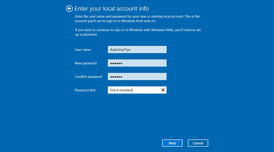 Windows 10 muestra cómo ingresar la información de la cuenta local