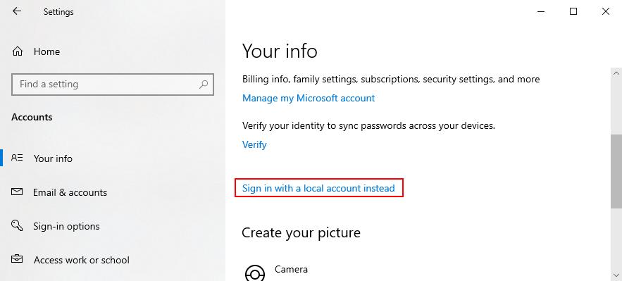 Windows 10 muestra cómo iniciar sesión con una cuenta local en lugar de una cuenta de Microsoft