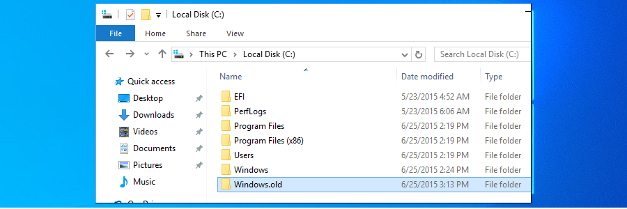 Windows 10 muestra la carpeta Windows.old