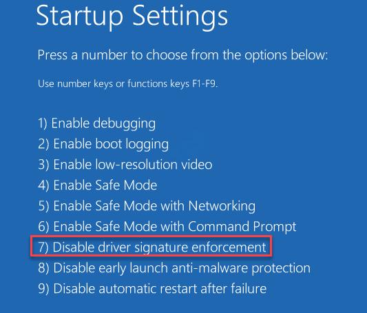 Configuración de inicio Deshabilitar la aplicación de la firma del controlador