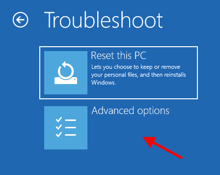 Solucionar problemas Restablecer esta PC Opciones avanzadas Inicio Reparación 1