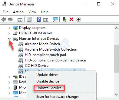 Dispositivos de interfaz humana de Device Manager Expandir Desinstalar dispositivo