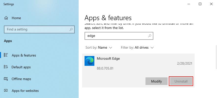El botón Desinstalar de Microsoft Edge está atenuado