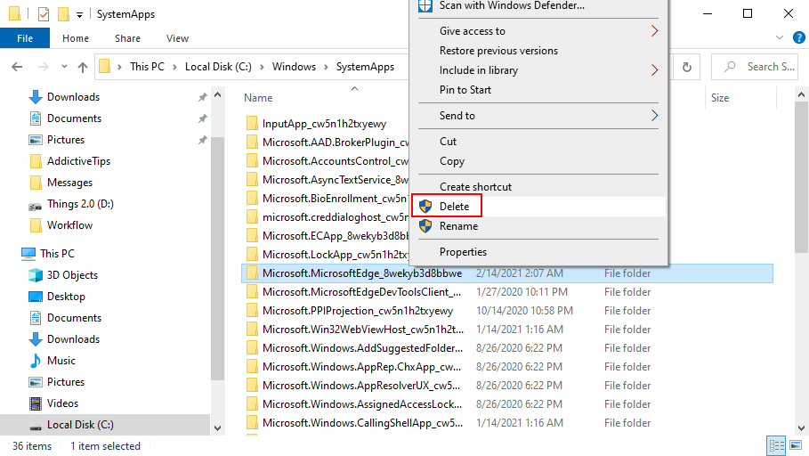 Quitar Microsoft Edge de Windows 10