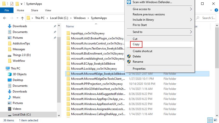 Windows 10 muestra cómo copiar la carpeta Edge en la ubicación de SystemApps