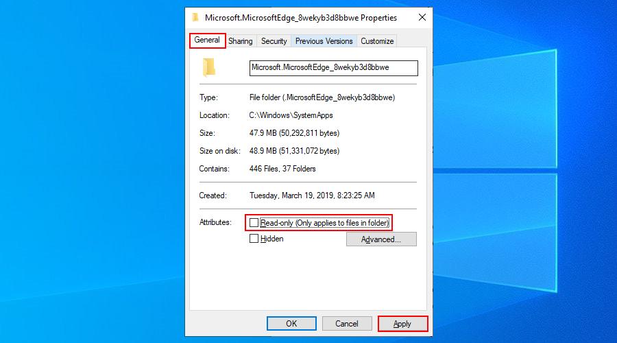 Windows 10 muestra cómo eliminar el atributo de solo lectura de la carpeta Edge