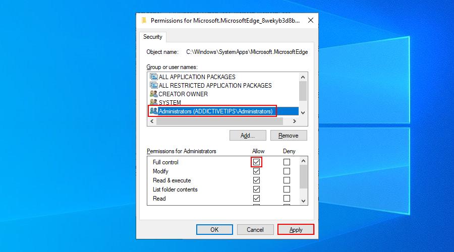 Windows 10 muestra cómo seleccionar el grupo de administradores y establecer permisos de control total para la carpeta Edge