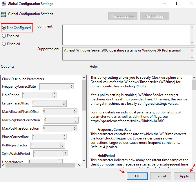 Ajustes de configuración global no configurados