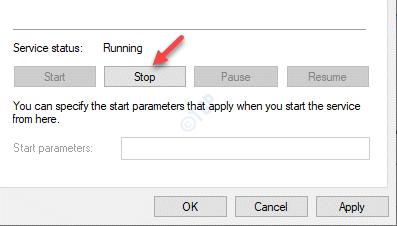 Propiedades de la hora de Windows Estado del servicio general Detener