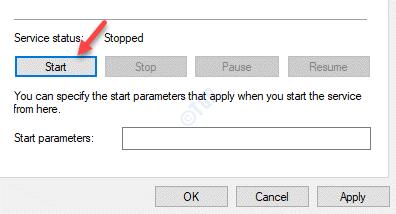 Propiedades de la hora de Windows Estado del servicio general Inicio