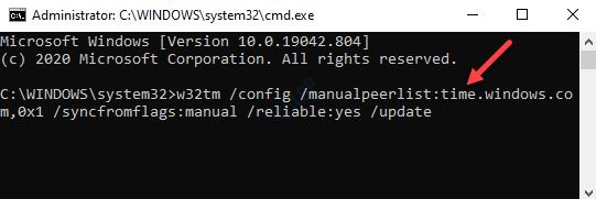 Símbolo del sistema (admin) Ejecutar el servicio de hora de Windows Comando Entrar