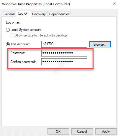 Propiedades de Windows Time Esta cuenta Contraseña Confirmar contraseña Aplicar Ok