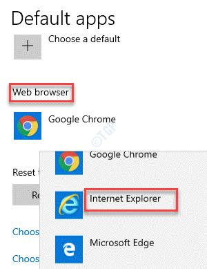 Aplicaciones Configuración Aplicaciones predeterminadas Navegador web Internet Explorer