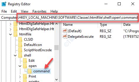 Tecla de comando Navegar a la ruta del editor del registro